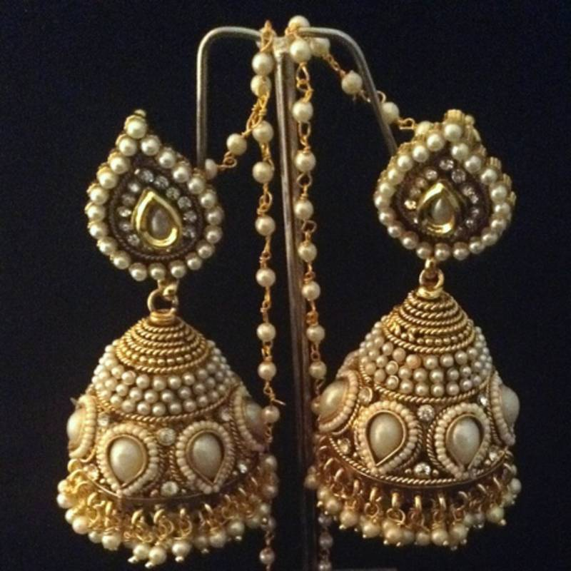 Bridal Heavy Ethnic Pearl Kundan Jhumka India Earrings