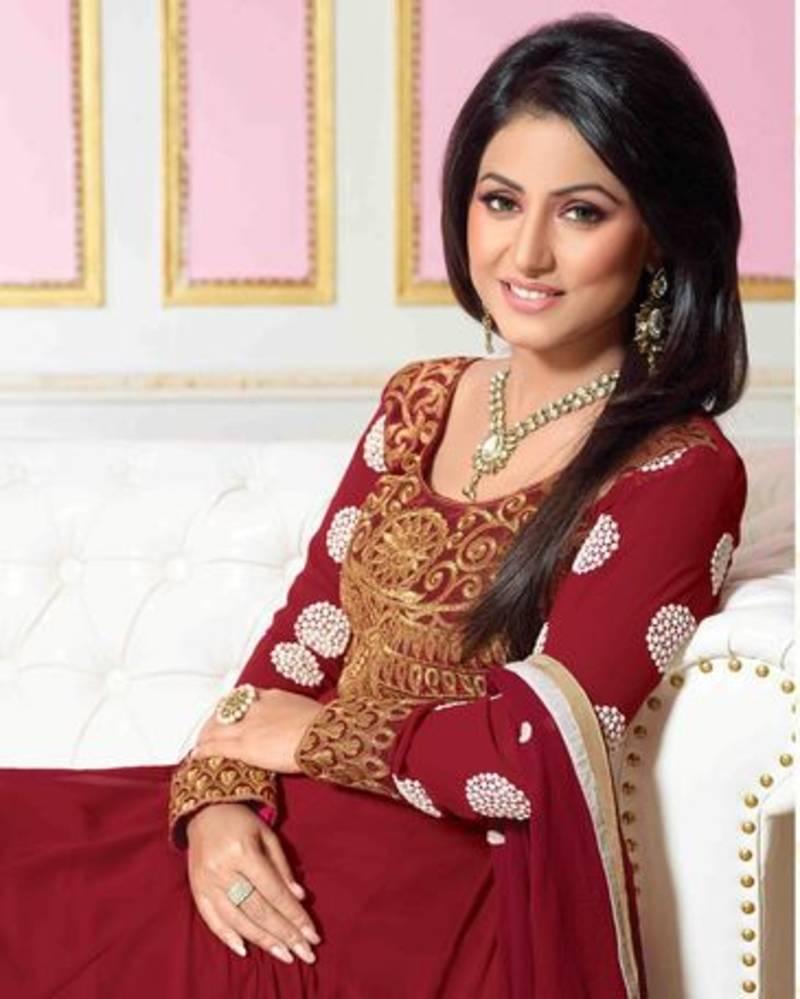 Buy Hina Khan Red Color Designer Semi Stitched Anarkali Suit Online