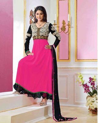 Buy Hina Khan Pink Color Designer Semi Stitched Anarkali Suit Online