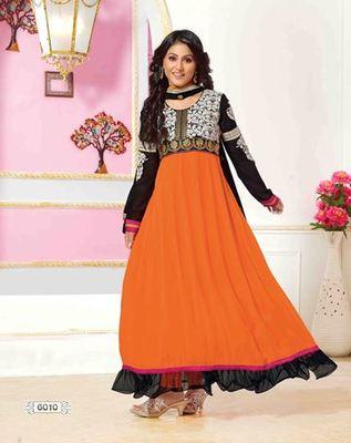 3b22cad825 Hina Khan Orange Color Designer Semi Stitched Anarkali Suit - Sareemall -  317895