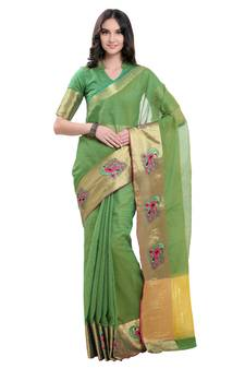 f4994ca20d Green embroidered silk blend saree with blouse