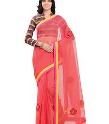 Buy Pink embroidered cotton saree with blouse kota-silk-saree online