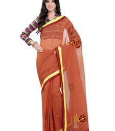 Rust embroidered cotton saree with blouse