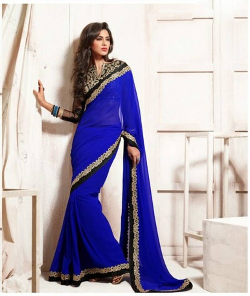 77ca446f89 Royal Blue Bember Georgette Designer Saree With Blouse - Rajshri ...