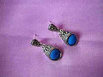 oxidised silver earrings with sky blue beads