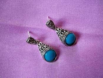 oxidised silver earrings with turquoise beads