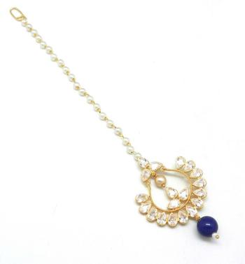 Chand Bali Shaped Maang Tikka Decorated With American Diamond  And  Pearl Drops