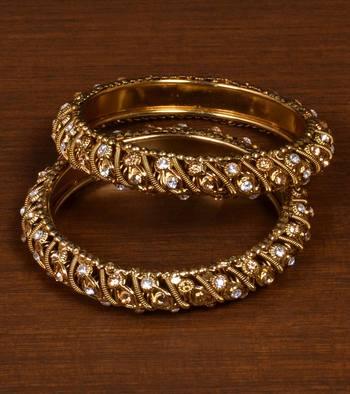 Gold Plated Zircon Stone Embellished Designer Bangles