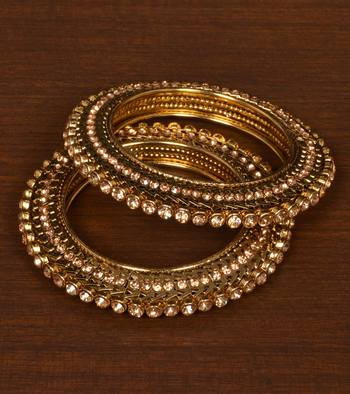 Antique Gold Plated with Intricate Worked and Zircon Stone Embellished Bangles