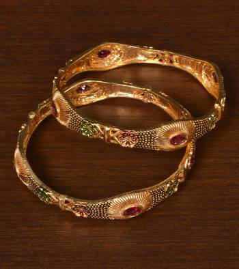 Gold Plated Antique Look Stone Embellished Bangles