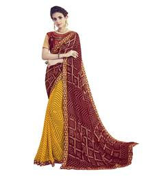 Buy Maroon embroidered georgette saree with blouse bandhani-sarees-bandhej online