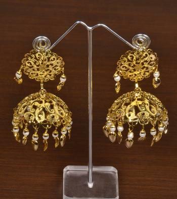 Gold Plated With Intricate Self Pattern Designer Light Weight Jhumka Tikka