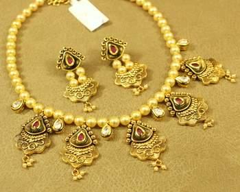 Ruby Antique Gold Look Kundan Meenakari Necklace Set