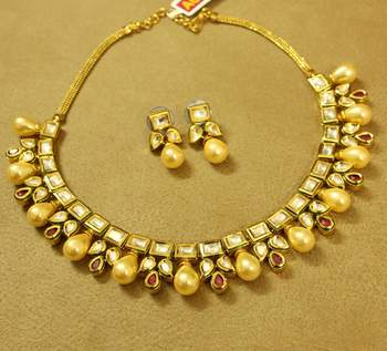 Kundan Meenakari Ruby Pearl Gold Look Necklace Set