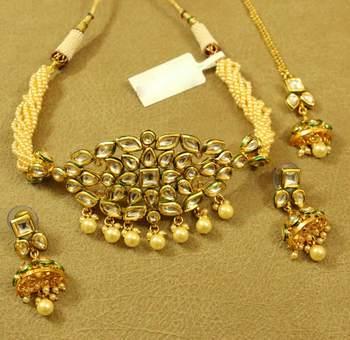 Kundan Meenakari Pearl Elegant Choker Neclace Set