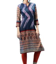 Blue Printed Stitched Rayon Short Kurtis