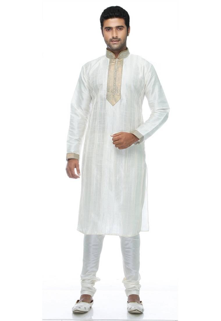 Buy White Plain Kurta Pyjama Self Design Silk Blend Online