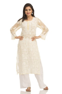 Lemon Embroidered Georgette Chikankari Kurti