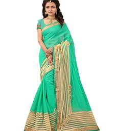 Buy multicolor embroidered Cotton saree with blouse designer-embroidered-saree online