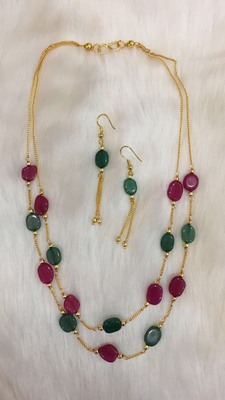 Emerald and ruby designer necklace