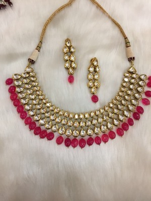 Bridal look ruby and kundan necklace with matching earrings