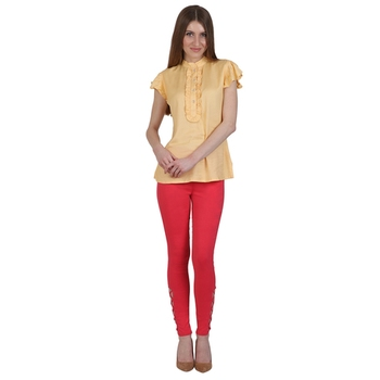 Red lycra cotton jeggings