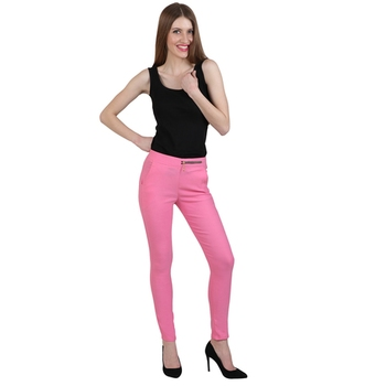 Baby pink lycra cotton jeggings