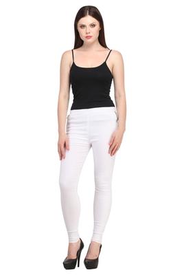 White lycra cotton jeggings