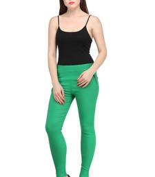 Green lycra cotton jeggings