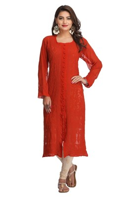 Orange Embroidered Georgette Chikankari Kurti