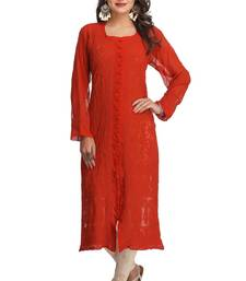 Orange embroidered georgette chikankari-kurtis