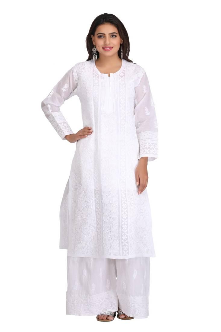 Buy White Embroidered Cotton Chikankari Kurtis Online