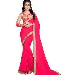 Buy Pink embroidered Chiffon saree with blouse designer-embroidered-saree online