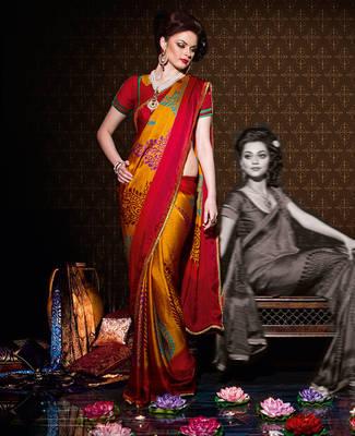 Beautiful Orange Satin chiffon sari