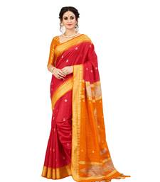 Buy Red woven raw silk saree with blouse bridal-saree online