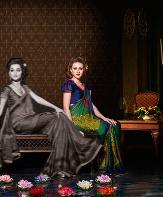 Nice Green Satin chiffon sari