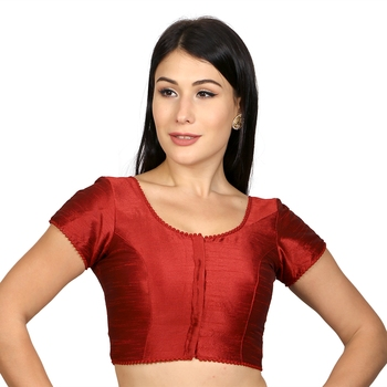 Maroon Dupion silk  Woven stitched blouse