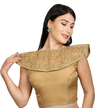 Gold Tussar Silk Woven stitched blouse