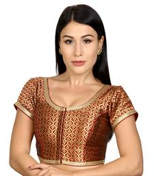 Maroon Brocade Woven stitched blouse