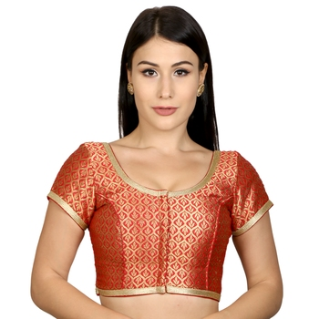 Red Brocade Woven stitched blouse