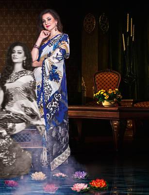 Nice White & Blue Georgete Sari