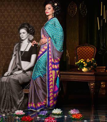 Lovely Blue & Orange Satin chiffon sari