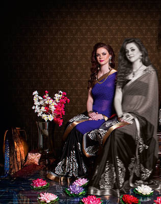 Nice purpole Half satin half georgette sari
