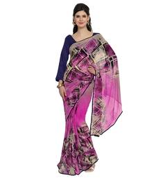 Buy Pink embroidered georgette saree with blouse all-seasons-saree online