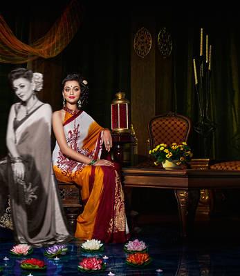 Lovely White & Orange satin chiffon sari