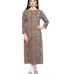 Buy Brown woven cotton kurtas-and-kurtis kurtas-and-kurtis online