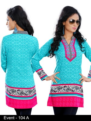Light turquoise with Chinese collar on American Crepe Printed Short Kurta with Long Sleeve
