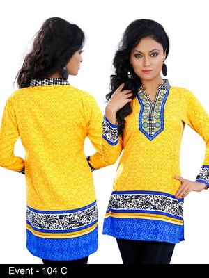 Light yellow with Chinese collar on American Crepe Printed Short Kurta with Long Sleeve