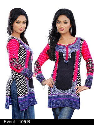Dark Multiclor Print on American Crepe Printed Short Kurta with Long Sleeve