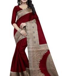 Buy Maroon printed silk saree with blouse art-silk-saree online